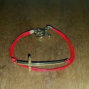 Jewelry - Gold sideways cross red leather toggle bracelet